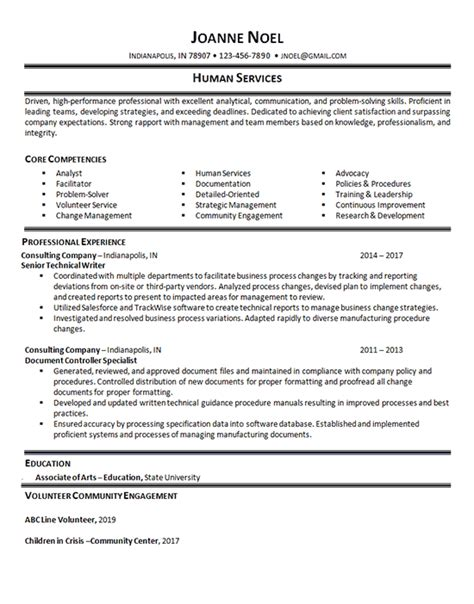 human services resume  technical writer