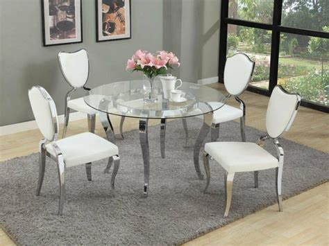 glass dining table  chrome base  modern white
