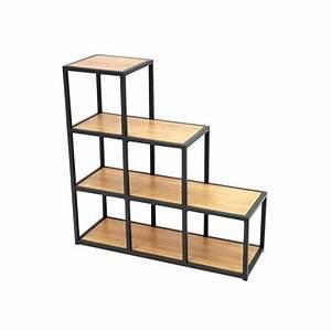 Etagere Escalier Bois : tag re escalier berlin meuble style industriel en h v a ~ Teatrodelosmanantiales.com Idées de Décoration