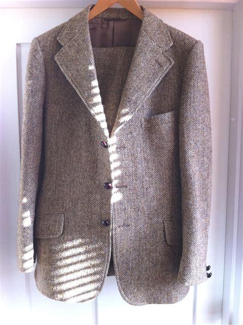middle aged man buys vintage tweed suit shock grey fox