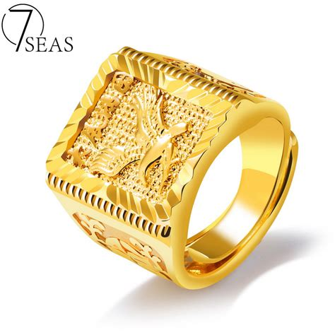 7seas 2017 new design stainless steel man weeding rings gold color eagle blessing pattern