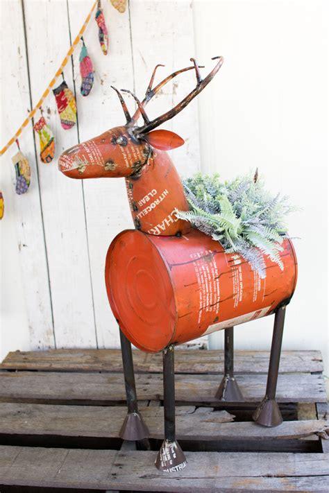 reclaimed red metal deer planter wine cooler