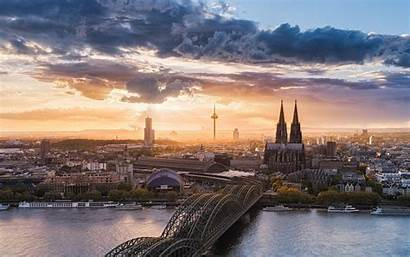 Germany Cologne Cathedral Landscape Sky Sunset Nature