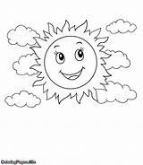 Coloring Sunshine Clouds Sol Desenho Colouring Colorir Desenhos Nuvens Gratis Imprimir Popular Clearing sketch template