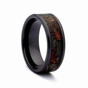 Camo wedding rings black titanium wedding bands by 1 camo for Black band wedding rings