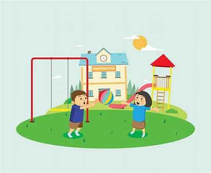 Playing Kindergarten Yard Children Ball Illustration Vector