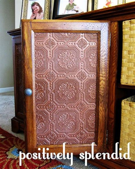 diy decorate cabinet door panels faux tin panels to