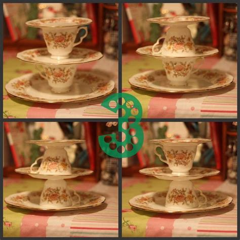 diy tiered tea tower  cake stand   teacups dessert