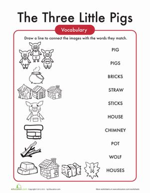 The Three Little Pigs Words Worksheet Education com
