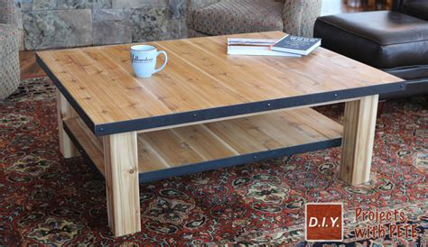 wood coffee table  steel accents