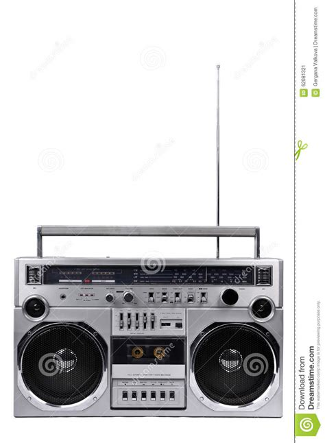 Rd Ijo Bpom 1980s silver radio boom box with antenna up