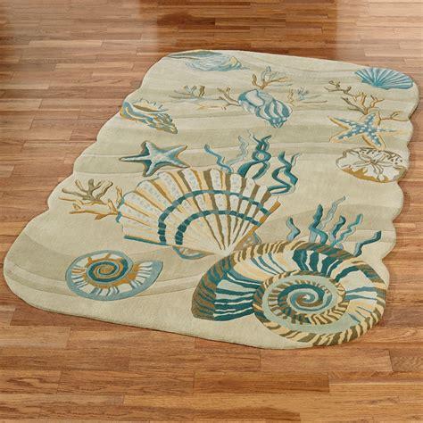 themed bathroom rugs coastal seashell area rugs