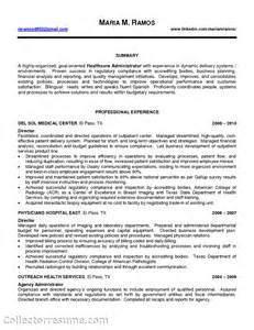 health professional resume sle resume for hospital administrator sales administrator
