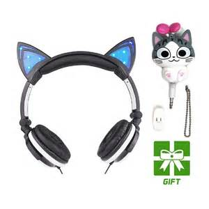 headphones with cat ears aliexpress buy cat ears headphones with led glowing