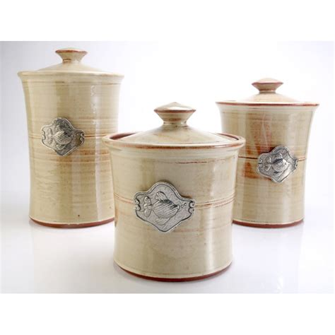 colored kitchen canisters fish 3 stoneware canister set in 4 colors