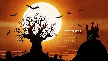 Halloween October Spooky Wallpapers Desktop Calendar Background
