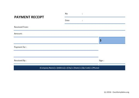 payment receipt template excel templates excel