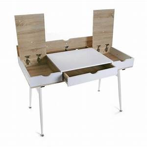 Bureau Bois Blanc : bureau d 39 ordinateur rangement c bles bois mdf et bois blanc versa ~ Teatrodelosmanantiales.com Idées de Décoration