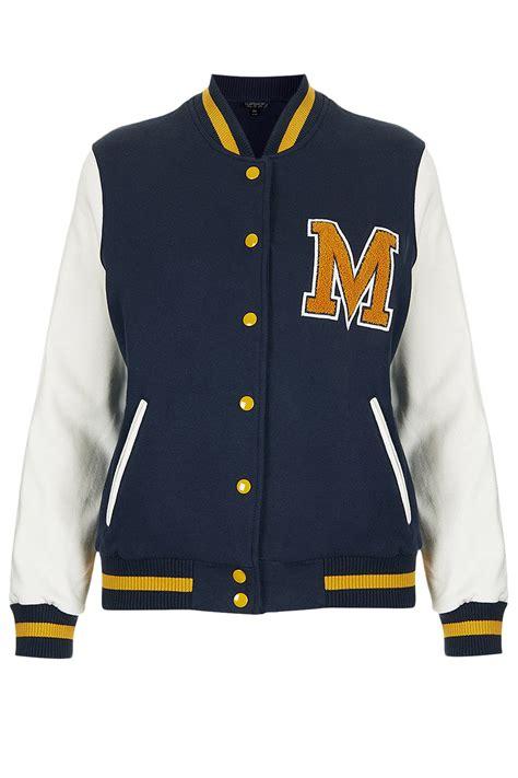topshop  jersey varsity bomber jacket  blue lyst