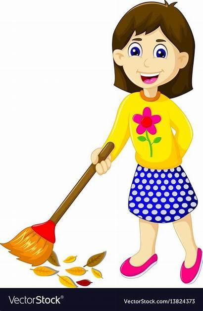 Sweeping Cartoon Mother Funny Vector Vectorstock Clipart
