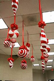 christmas ornaments hanging from ceiling - Giant Candy Decorations Christmas