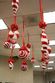 christmas ornaments hanging from ceiling