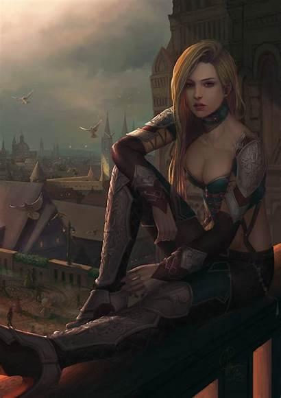 Fantasy Warrior Woman Female Blonde Artstation Character
