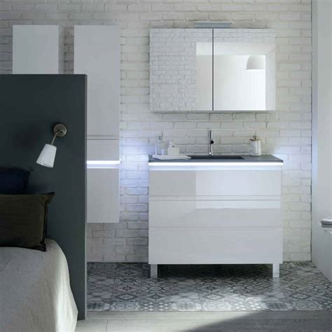 meuble vasque salle de bain gris et blanc salle de bain sanijura