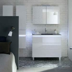 meuble salle de bain avec panier a linge integre maison With salle de bain design avec vasque marbre gris