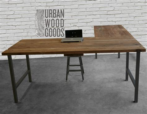 wood top desk l shaped desk with reclaimed wood top and square steel legs