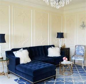 Navy tufted sofa sectional pretty pinterest velvet for Navy blue tufted sectional sofa
