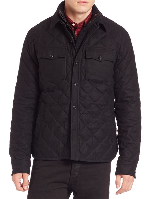 lyst polo ralph quilted officer s jacket in black for