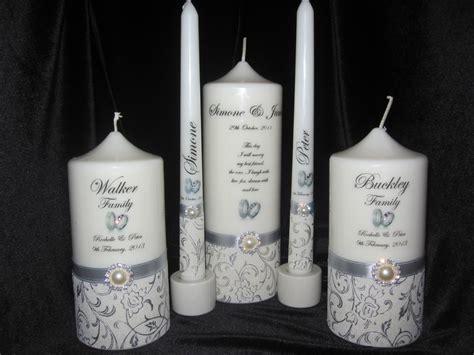 Personalised Wedding 5 Piece Round Unity Candles White