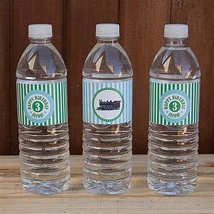 vintage train birthday party water bottle labels green With kinkos water bottle labels