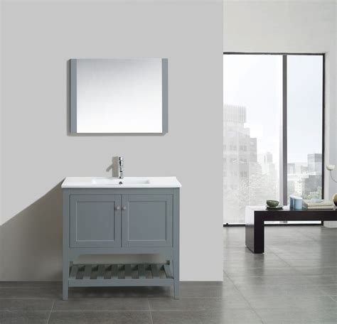 aquamoon rimini 36 quot matt grey modern bathroom vanity with