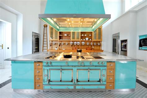 b q kitchen islands 09 turquoise kitchen from la cornue littlebig
