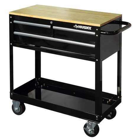 Husky 36 in. 3 Drawer Rolling Tool Cart with Wood Top