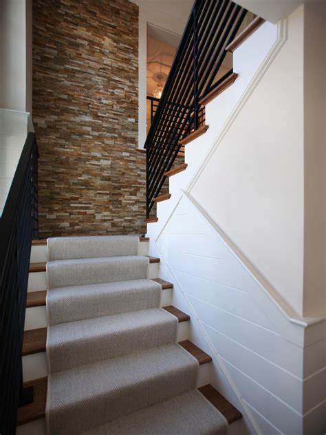 contemporary stairway  stacked stone wall hgtv