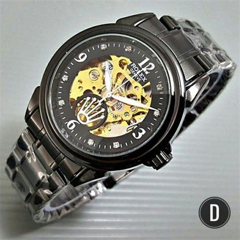 jual jam tangan rolex skeleton rantai automatic tanpa baterai batre warna hitam deyostore