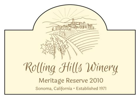 arched countryside vineyard wine label label templates