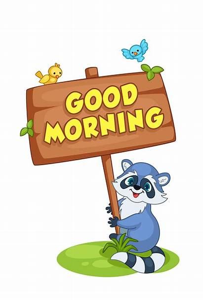 Morning Cartoon Raccoon Holding Board Vector Animal