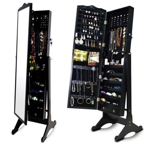 Black Standing Mirror Jewelry Armoire by Organizedlife Black Wood Jewelry Armoire Large Mirrored