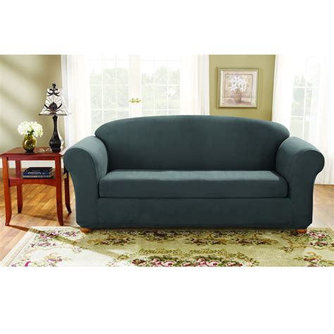 sure fit stretch suede sofa slipcover sure fit stretch suede sofa 2 piece bench seat slipcover
