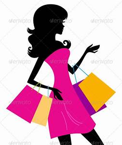 Woman shopping silhouette isolated on white | GraphicRiver