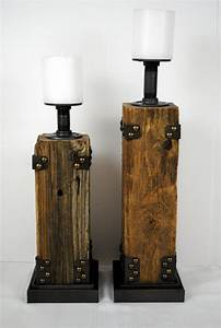 reclaimed wood pillar candle holder With barnwood candle holders