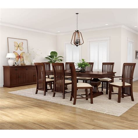 tannersville solid mahogany wood  piece dining room set