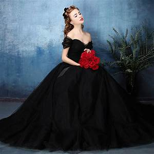 Aliexpresscom buy vintage off the shoulder black for Black wedding dresses 2017