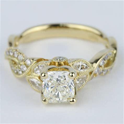 vintage leaf vine engagement ring with cushion diamond 1 carat