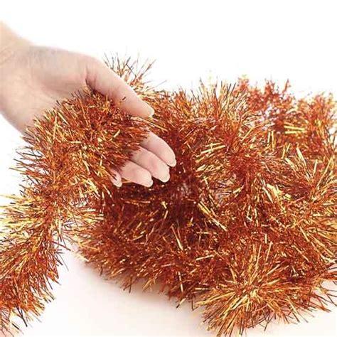 metallic orange tinsel garland christmas garlands