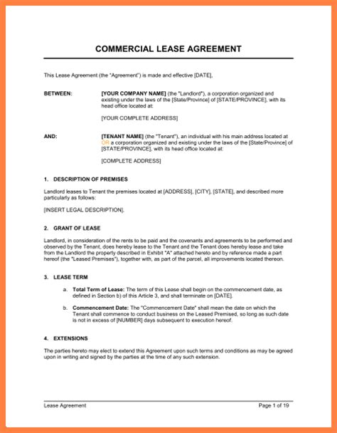 commercial building lease agreement template purchase